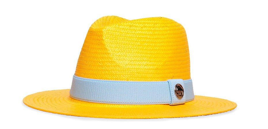 Chapéu Estilo Panamá Palha Shantung Amarelo Aba média 7cm - Coleção Elástica
