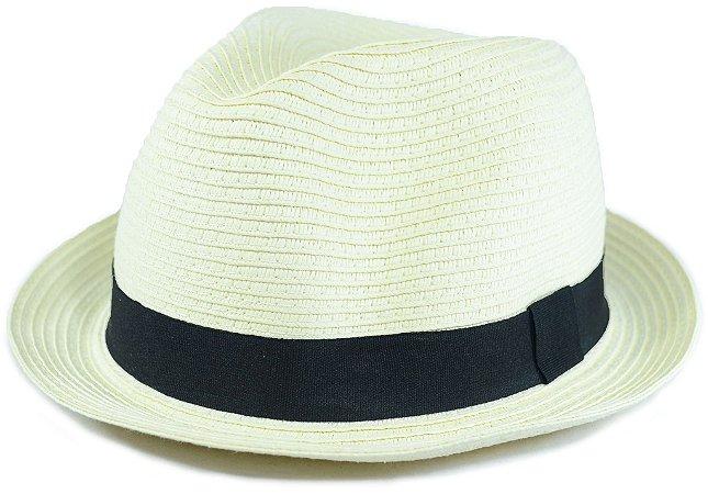 Chapéu Fedora Estilo Panamá Aba Curta Creme Palha Sintética
