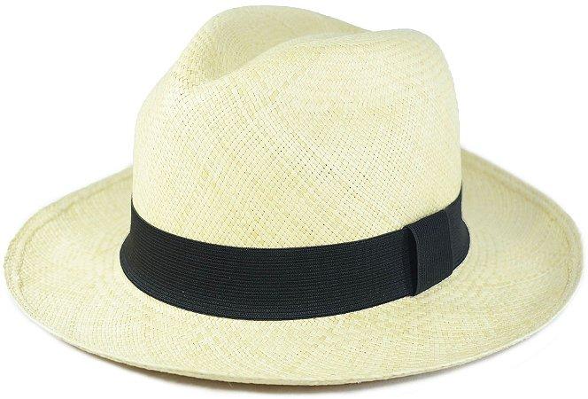 Chapéu Panamá Aba Grande Faixa Preta Customizada