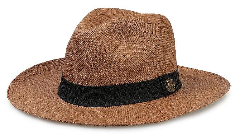 f978556e0e4a0 Chapéu Panamá Legítimo Caramelo Aba Grande Faixa Preta