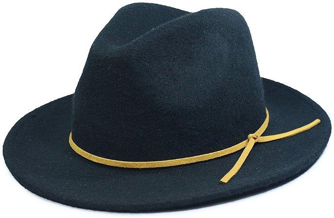Chapéu Fedora Preto Aba Média Faixa de Couro Bege Customizada