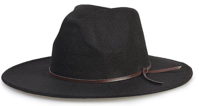 Chapéu Fedora Preto Aba 8cm Faixa Couro V Marrom - Compre com quem é ... c6155de60fc