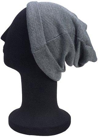 Touca Gorro Lã Lisa Cinza Escura