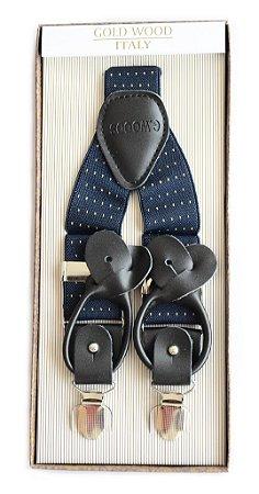 Suspensório Unissex Estampado Azul Marinho Vintage