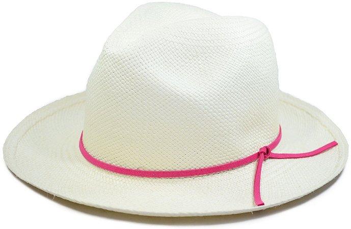 Chapéu Panamá Aba Média Faixa Couro Fino Rosa Pink Customizada