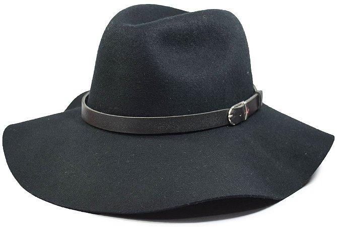 Chapéu Fedora Preto Feltro Aba 10cm Faixa Cinto Preto