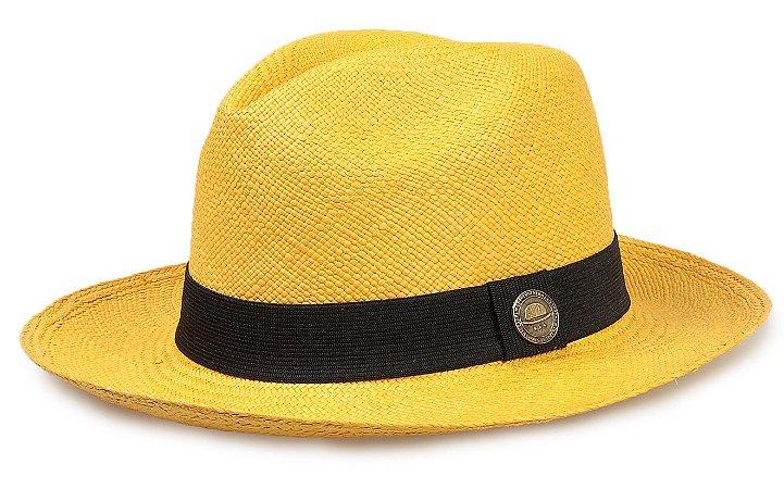 Chapéu Panamá Colorido Amarelo Aba Média Palha Toquilla - Compre com ... fcbba1674ed