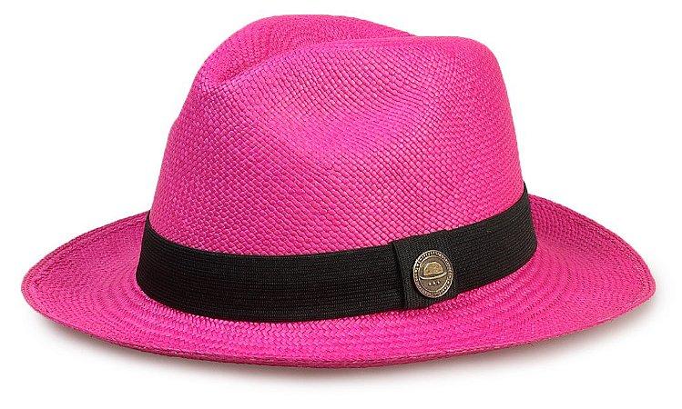 Chapéu Panamá Colorido Rosa Aba Média Feminino - Compre com quem é ... 977ef039199