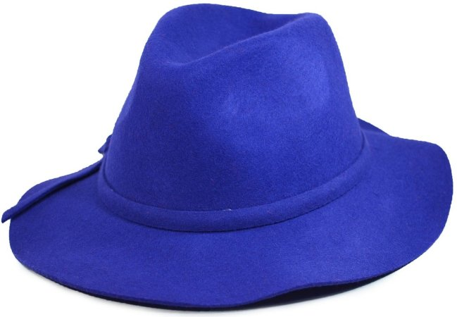 Chapéu Fedora Azul Aba Média 100% Lã Pura