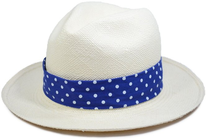 Chapéu Panamá Aba Média Faixa Customizada Azul Retrô