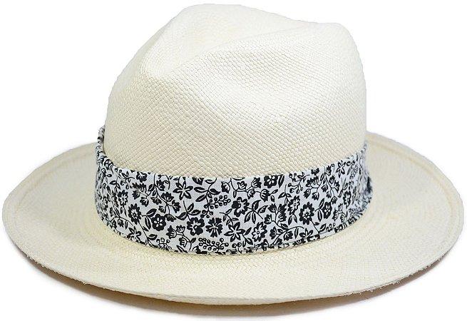 Chapéu Panamá Aba Média Faixa Customizada Florido Preta e Branca