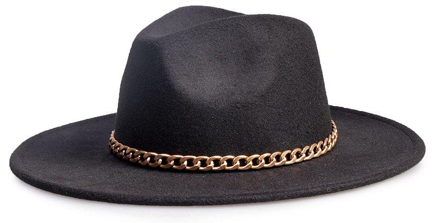 Chapéu Fedora Preto Aba Reta 8cm Feltro Faixa Corrente Dourada