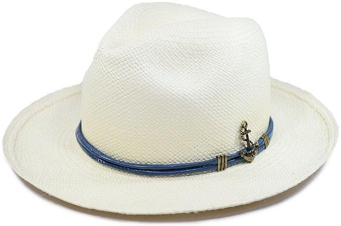 Chapéu Panamá Aba Média Faixa de Couro Azul Customizada Âncora S