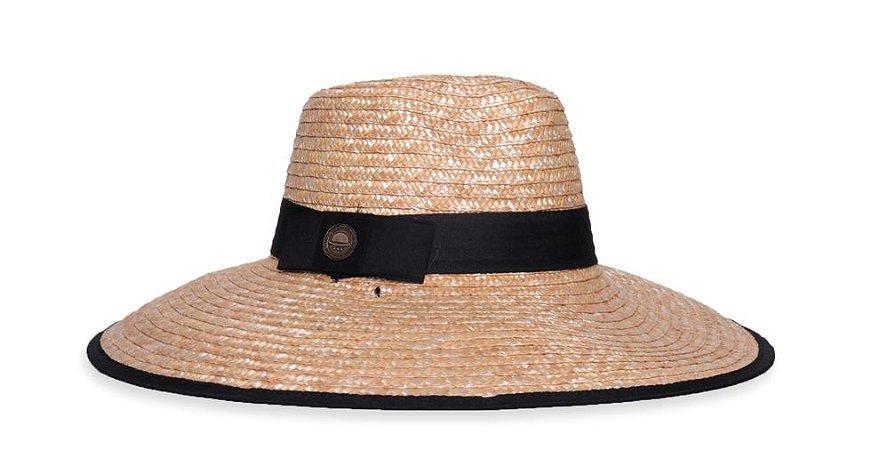 Chapéu de Palha Aba Grande 12cm Faixa Preta Com Cordão - Coleção Clássico