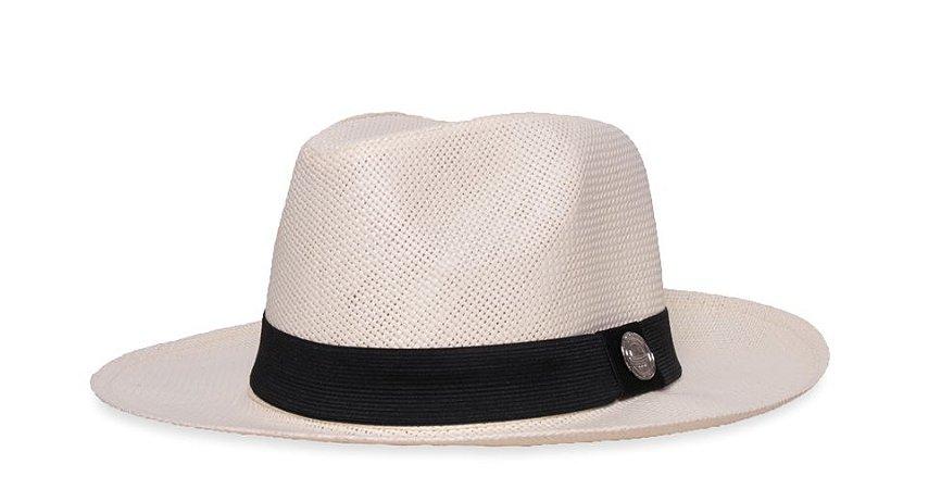 Chapéu Fedora Palha Rígida 6,5cm Creme Faixa Clássica
