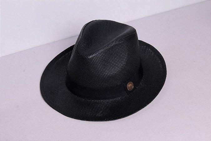 Chapéu Fedora Palha Rígida 6,5cm Preto Faixa Clássica