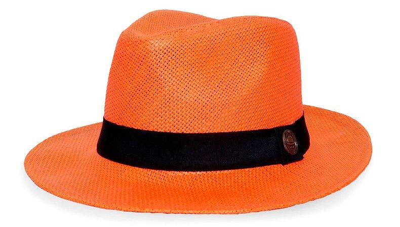 Chapéu Fedora Palha Rígida Laranja Aba Levemente Curva 6,5cm Faixa Preta - Coleção Clássico