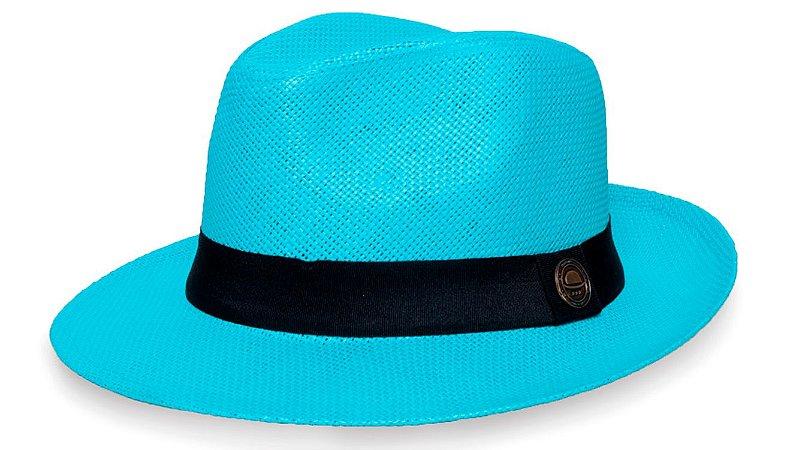 Chapéu Fedora Palha Rígida 6,5cm Azul Faixa Clássica