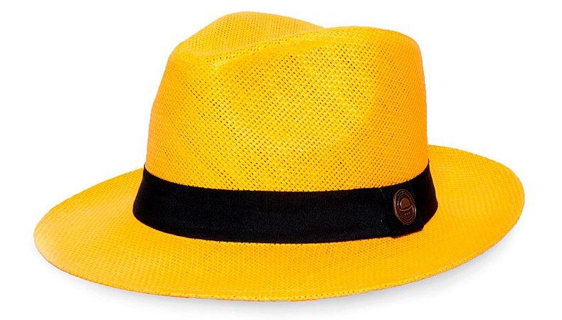 Chapéu Fedora Palha Rígida 6,5cm Amarelo Faixa Clássica