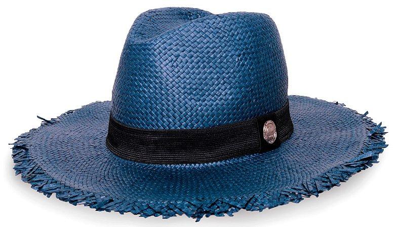 Chapéu Fedora Palha Shantung Destroyed Aba Média 7cm Azul Marinho Faixa Preta - Coleção Clássico
