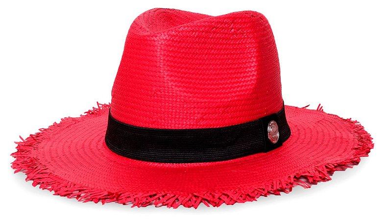 Chapéu Fedora Palha Shantung Destroyed Vermelho Aba Média 7cm Faixa Preta - Coleção Clássico