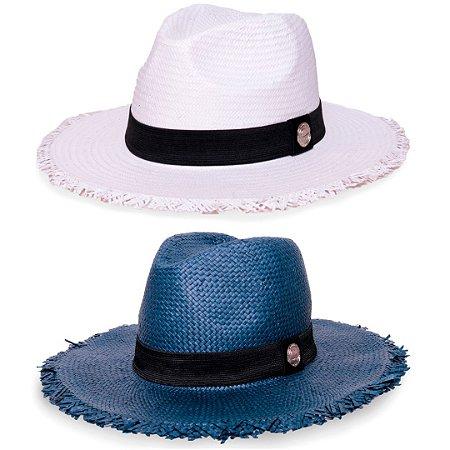 Kit Chapéu Estilo Panamá Aba Média Palha Shantung Branco + Azul Marinho Faixa Clássica