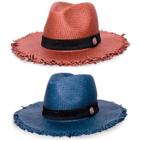 Kit Chapéu Estilo Panamá Aba Média Palha Shantung Marrom + Azul Marinho Faixa Clássica