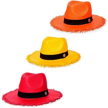 Kit Chapéu Estilo Panamá Aba Média Palha Shantung Laranja + Vermelho + Amarelo Faixa Clássica