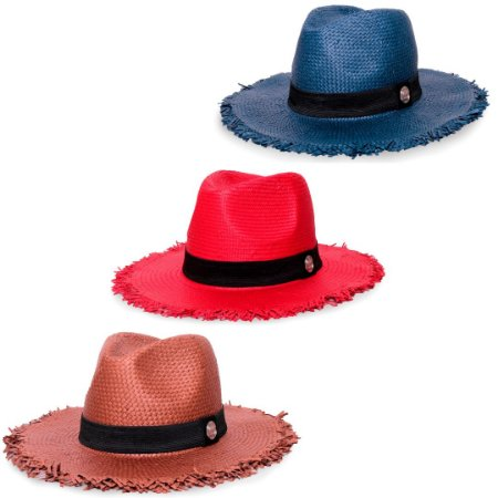 Kit Chapéu Estilo Panamá Aba Média Palha Shantung Marrom + Vermelho + Azul Marinho Faixa Clássica