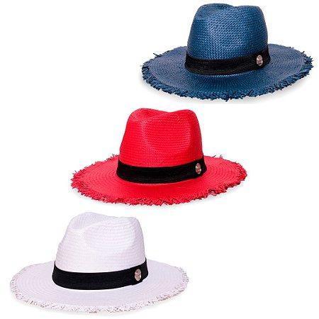 Kit Chapéu Estilo Panamá Aba Média Palha Shantung Branco + Vermelho + Azul Marinho Faixa Clássica