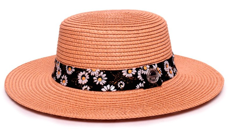 Chapéu Palheta Caramelo Aba Maleável 7cm Palha Sintética Faixa Flowers Coleção Nobuck