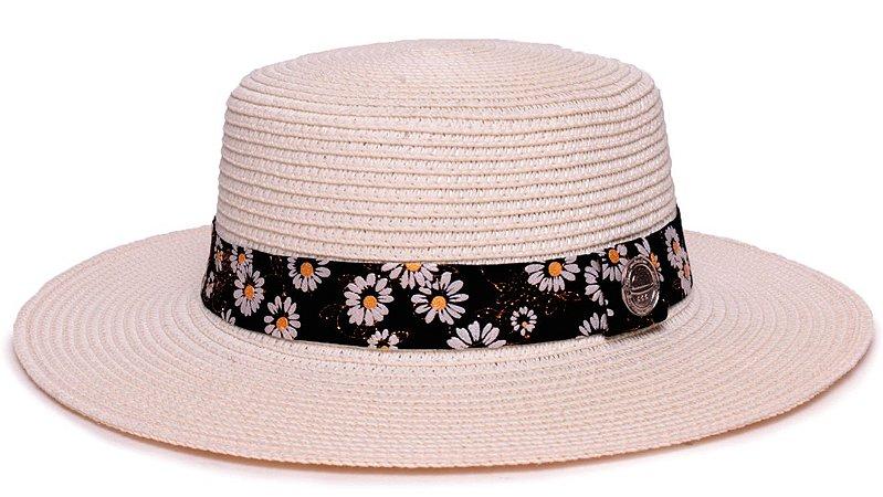 Chapéu Palheta Palha Sintética Creme Aba Maleável 7cm  Faixa Flower Branca - Coleção Suede