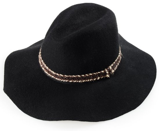 Chapéu Fedora Feltro Aba Grande Maleável 10 cm Preto Faixa Especial
