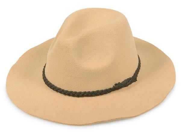 Chapéu Fedora Bege Feltro Aba 7,5 Faixa Trançada