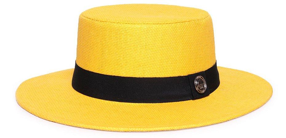 Chapéu Palheta Palha Rígida Amarelo Aba 7cm Faixa Clássica