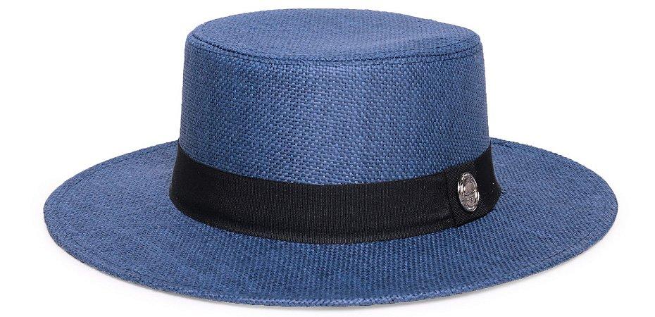 Chapéu Palheta Palha Rígida Azul Marinho Aba 7cm Faixa Clássica