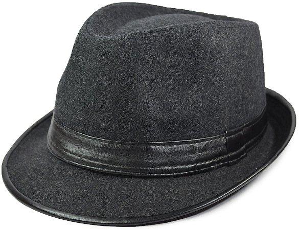 Chapéu Fedora Aba Curta Cinza Escuro com Debrum e Faixa de Couro