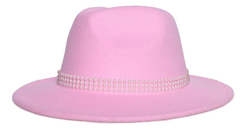 Chapéu Fedora Feltro Rosa Claro Aba Média 7cm Faixa Meia Pérola - Coleção Pérola