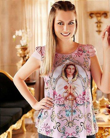 Blusa Bordada Nossa Senhora da Rosa Mística - Coleção Ágape
