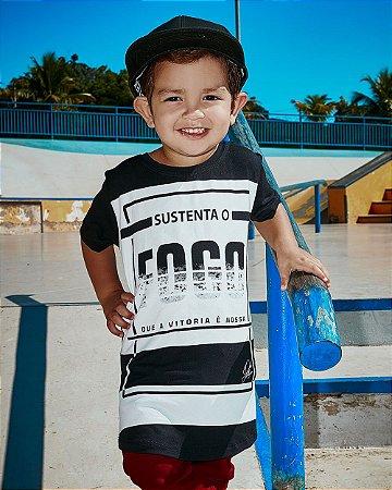 Camiseta Long Line Infantil Sustenta o Fogo - Tony Allysson