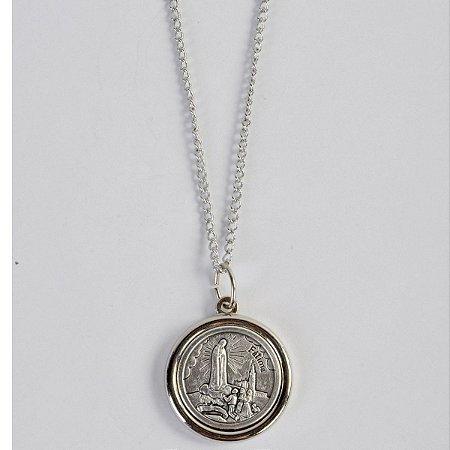 Medalha com Corrente Centenário Nossa Senhora de Fátima Inox
