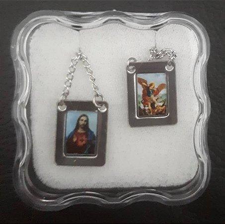 Escapulário Sagrado Coração de Jesus e São Miguel Arcanjo - Aço / Inox