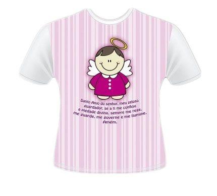 Camiseta Infantil e Juvenil Anjinho Rosa