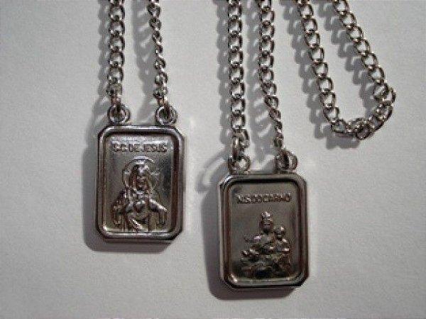 Escapulário  Coração de Jesus e Nossa Senhora do Carmo - Aço/Inox