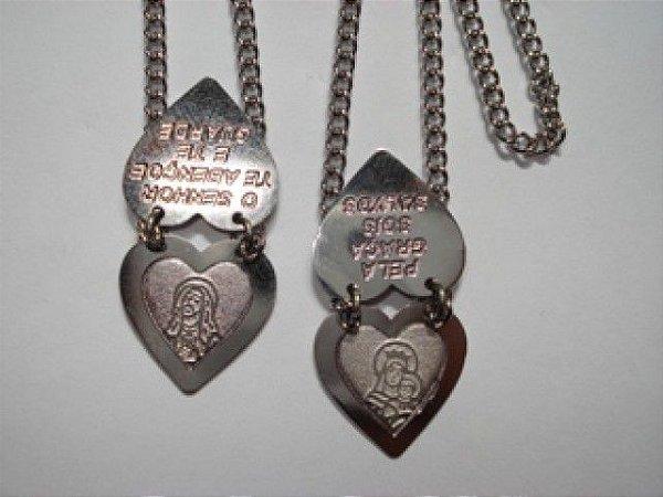 Escapulário Chapa Dupla Coração de Jesus e Nossa Senhora do Carmo - Aço/Inox