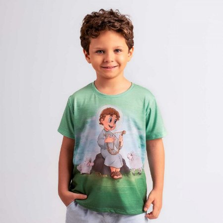 Camiseta Infantil Davi Tocando Harpa
