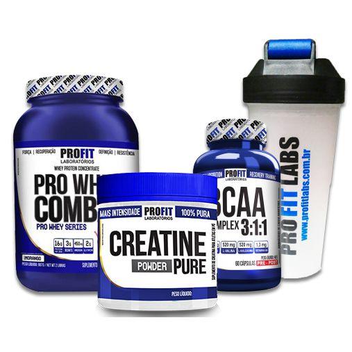 SUPER COMBO PROFIT - WHEY 900g + BCAA 3:1:1 60caps + CREATINA 150g + COQUETELEIRA
