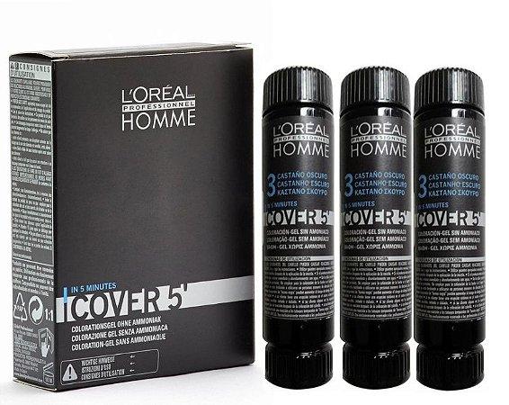 Loreal Homme Cover 5 N. 3 Castanho Escuro - Coloração 3x50ml