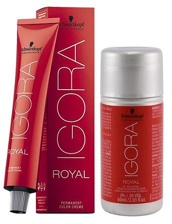 Tintura Igora Royal 6-88 Louro Escuro Vermelho Extra + OX 30 Vol. (9%)
