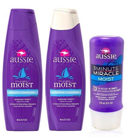 Aussie Kit Moist Hidratação Shampoo + Condic + Mascara 3 Minute